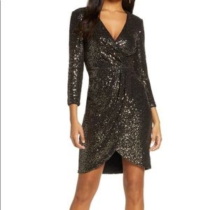 Faux Wrap Sequin Cocktail Dress In Black Gold